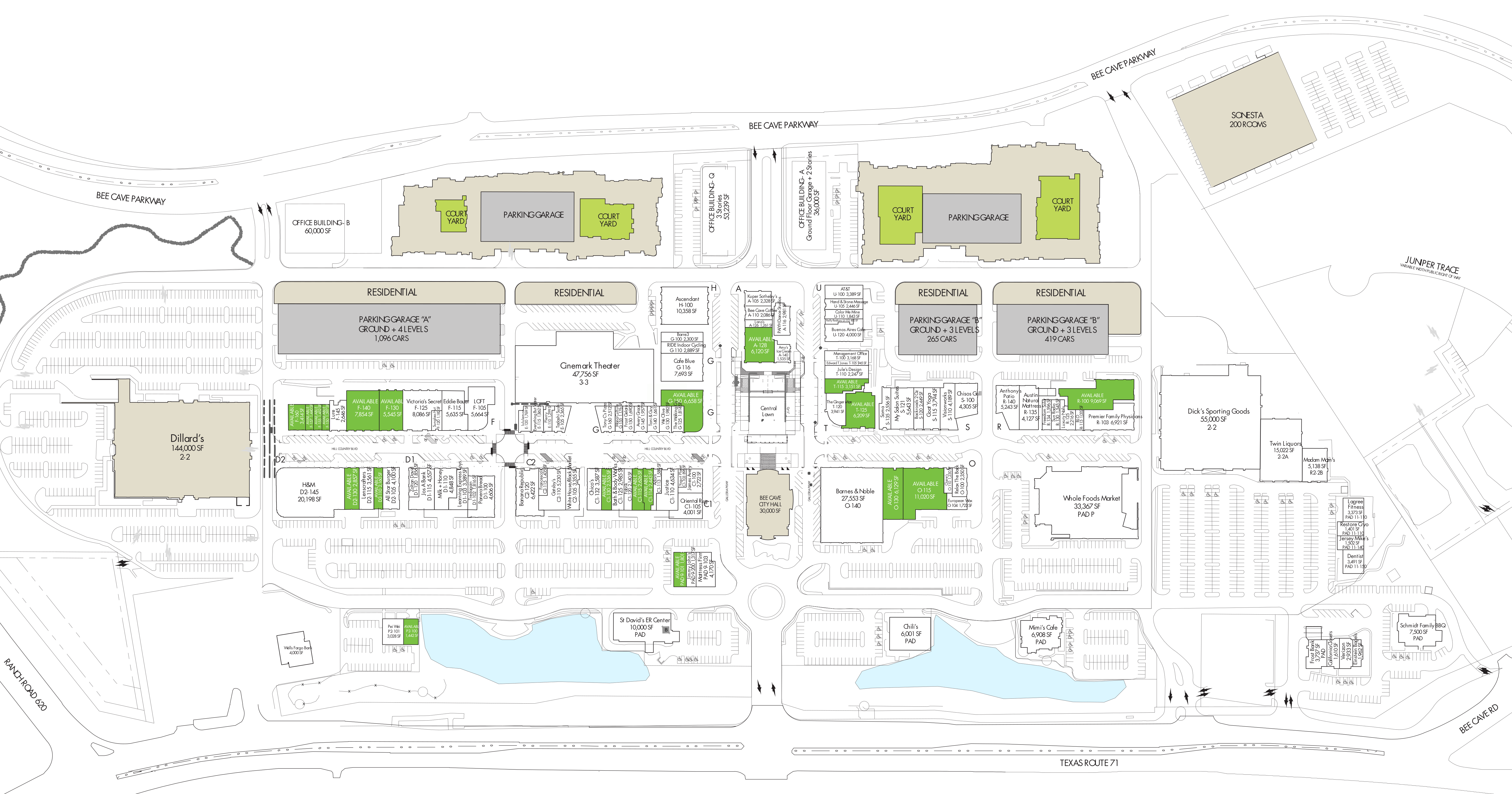 Hill Country Galleria: site plan