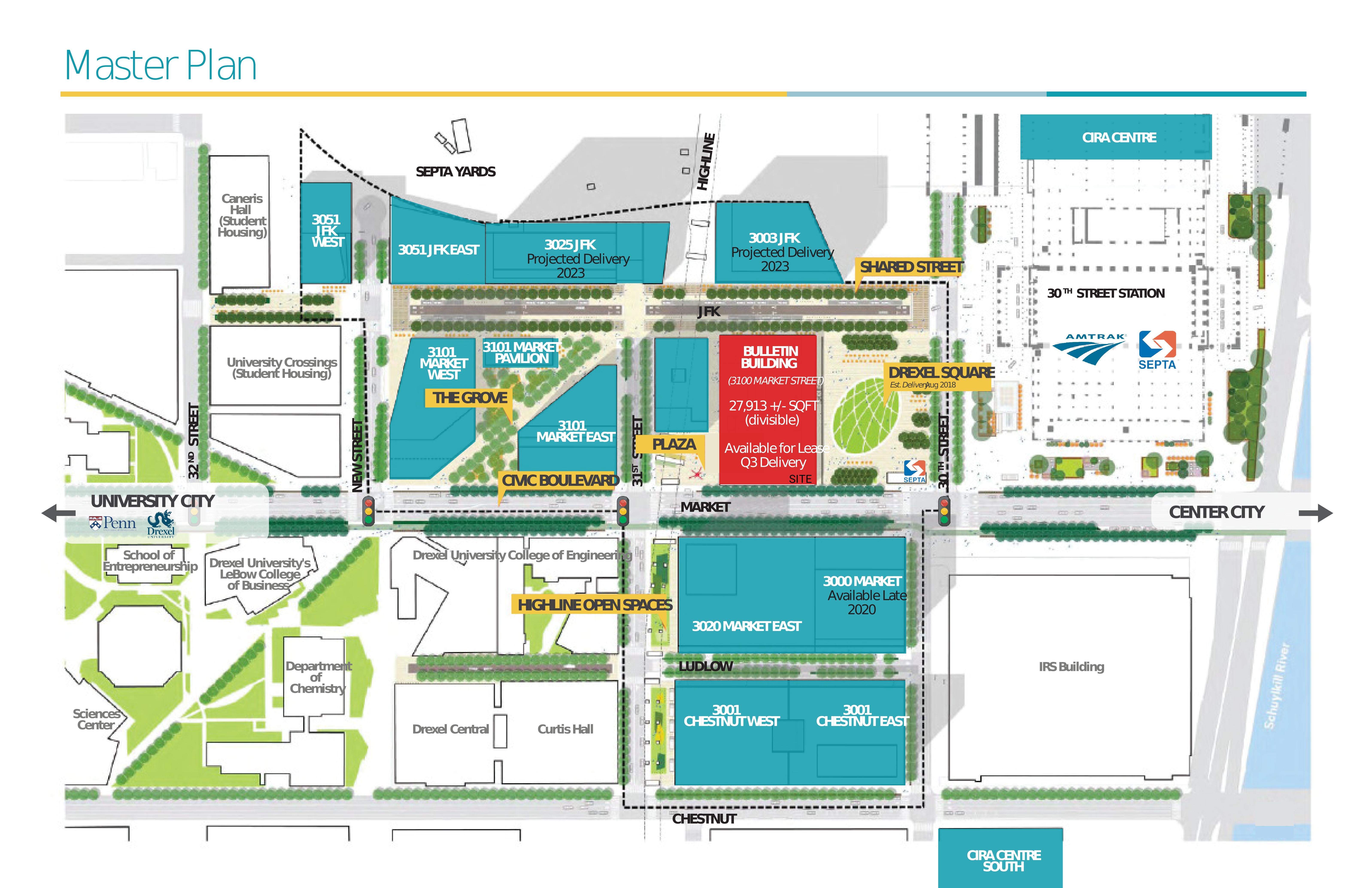 Schuylkill Yards - One Drexel Plaza: site plan