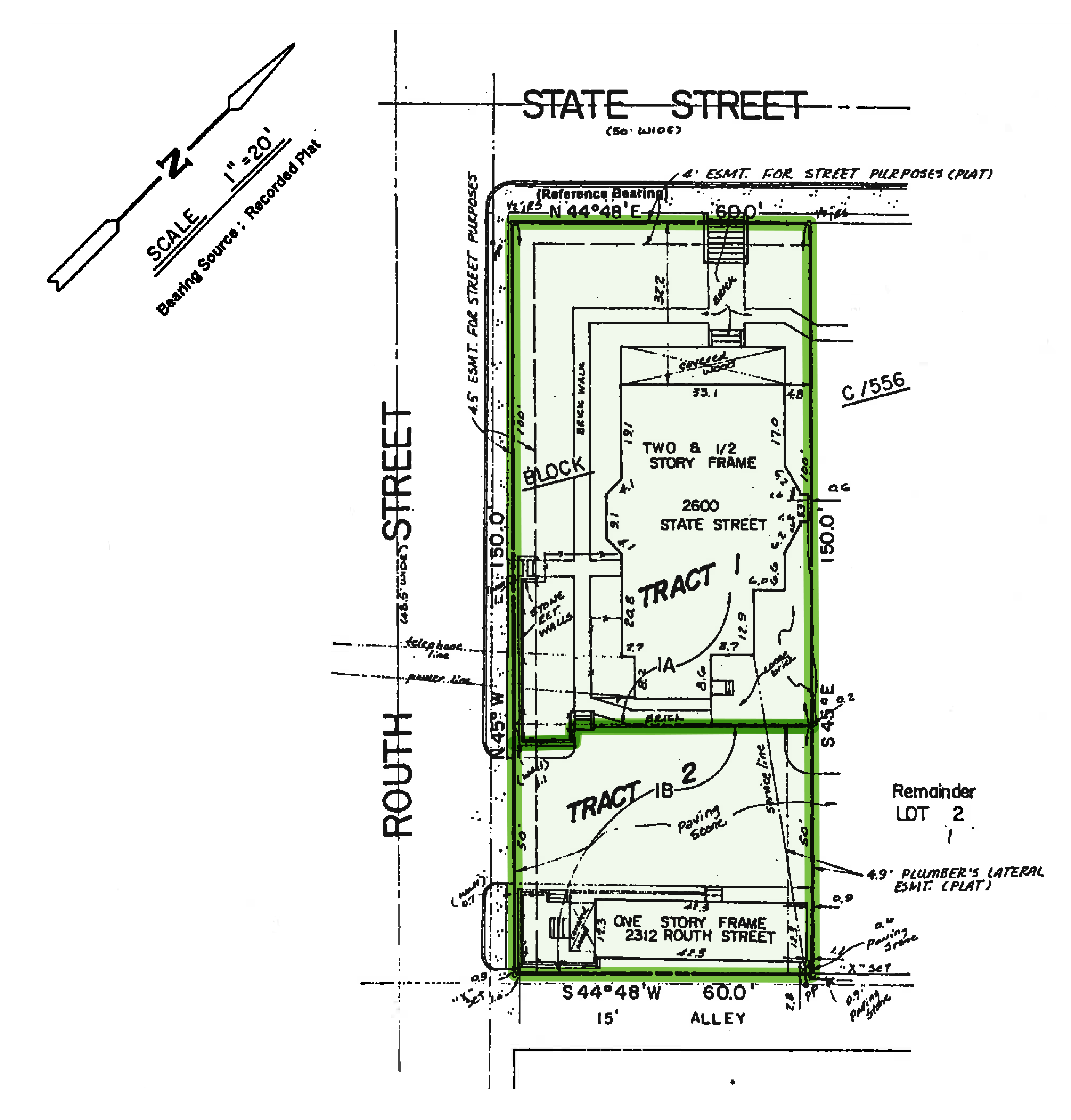 2600 State St (tract 1) / 2312 Routh St (tract 2): site plan