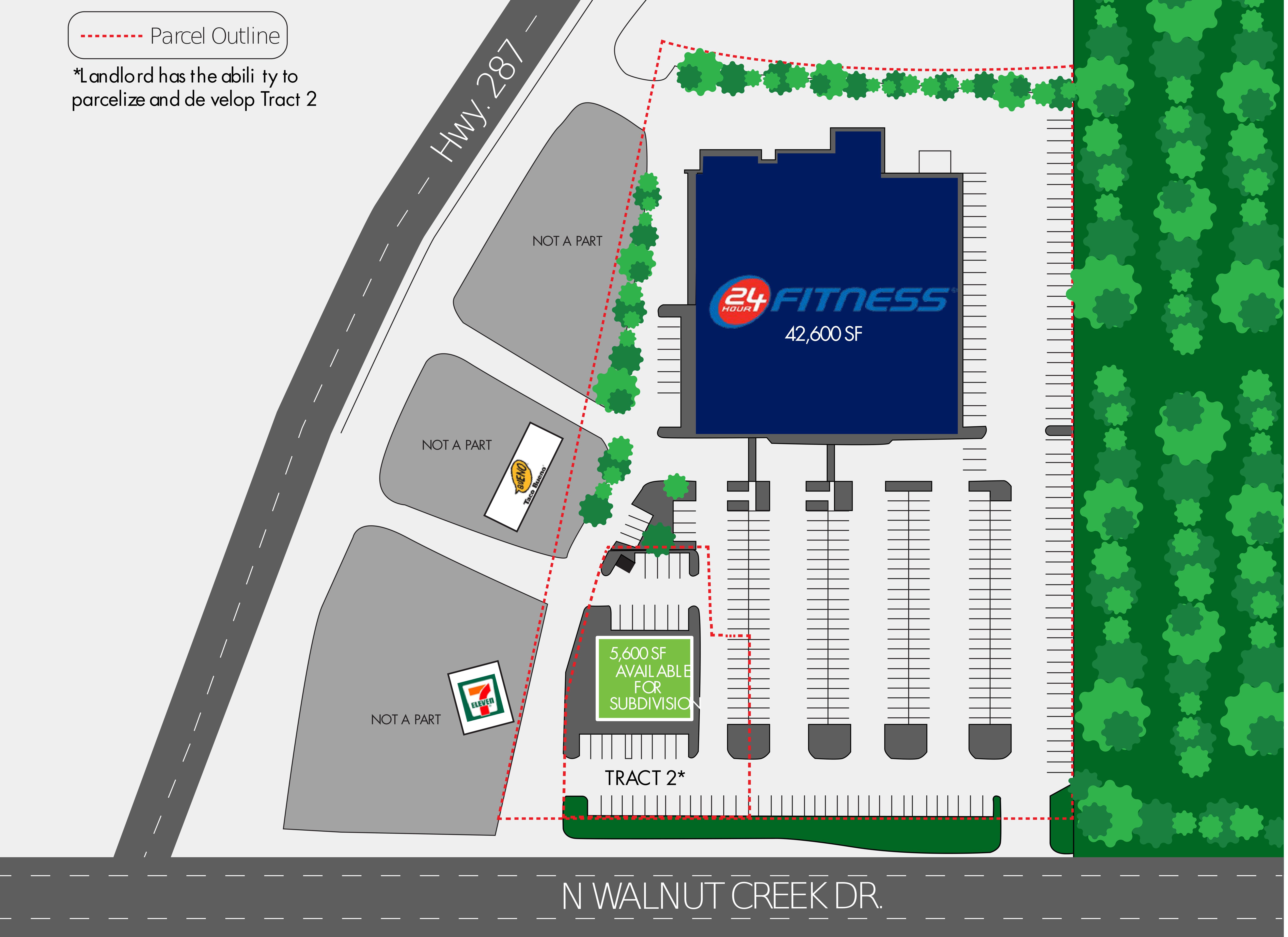 NWQ Walnut Creek Dr & Country Club Dr: site plan