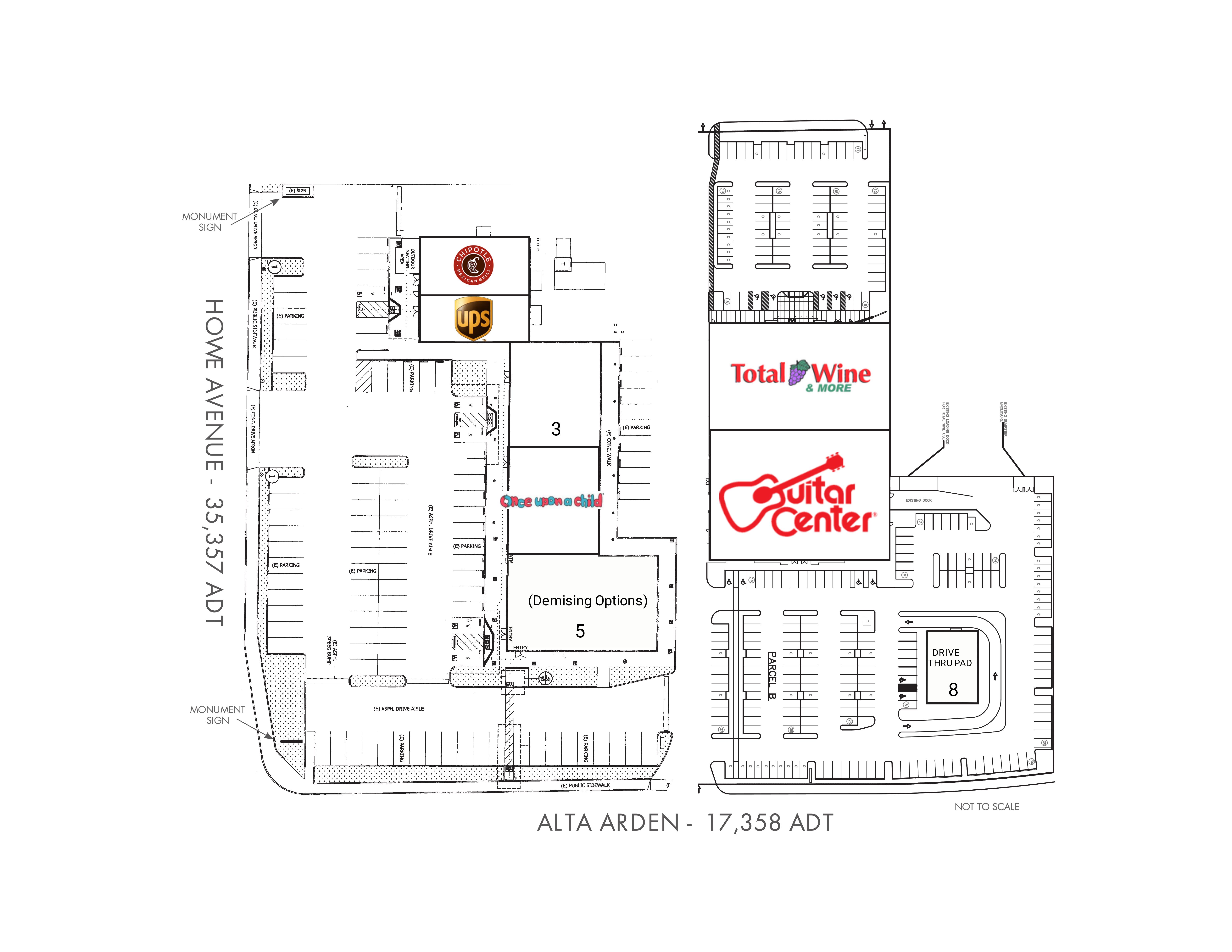 Alta Arden & Howe Retail Center: site plan