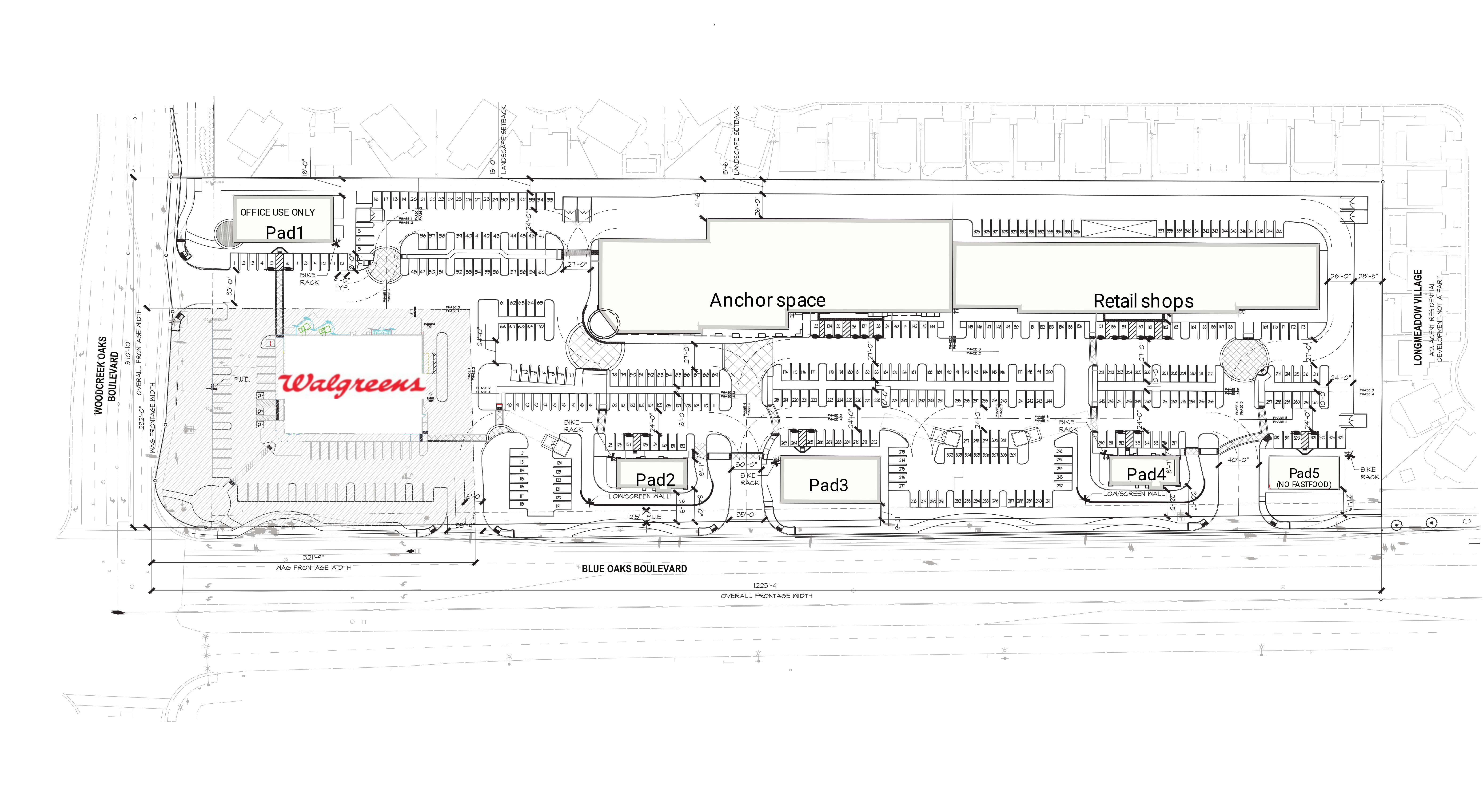 Blue Oaks Retail Center: site plan