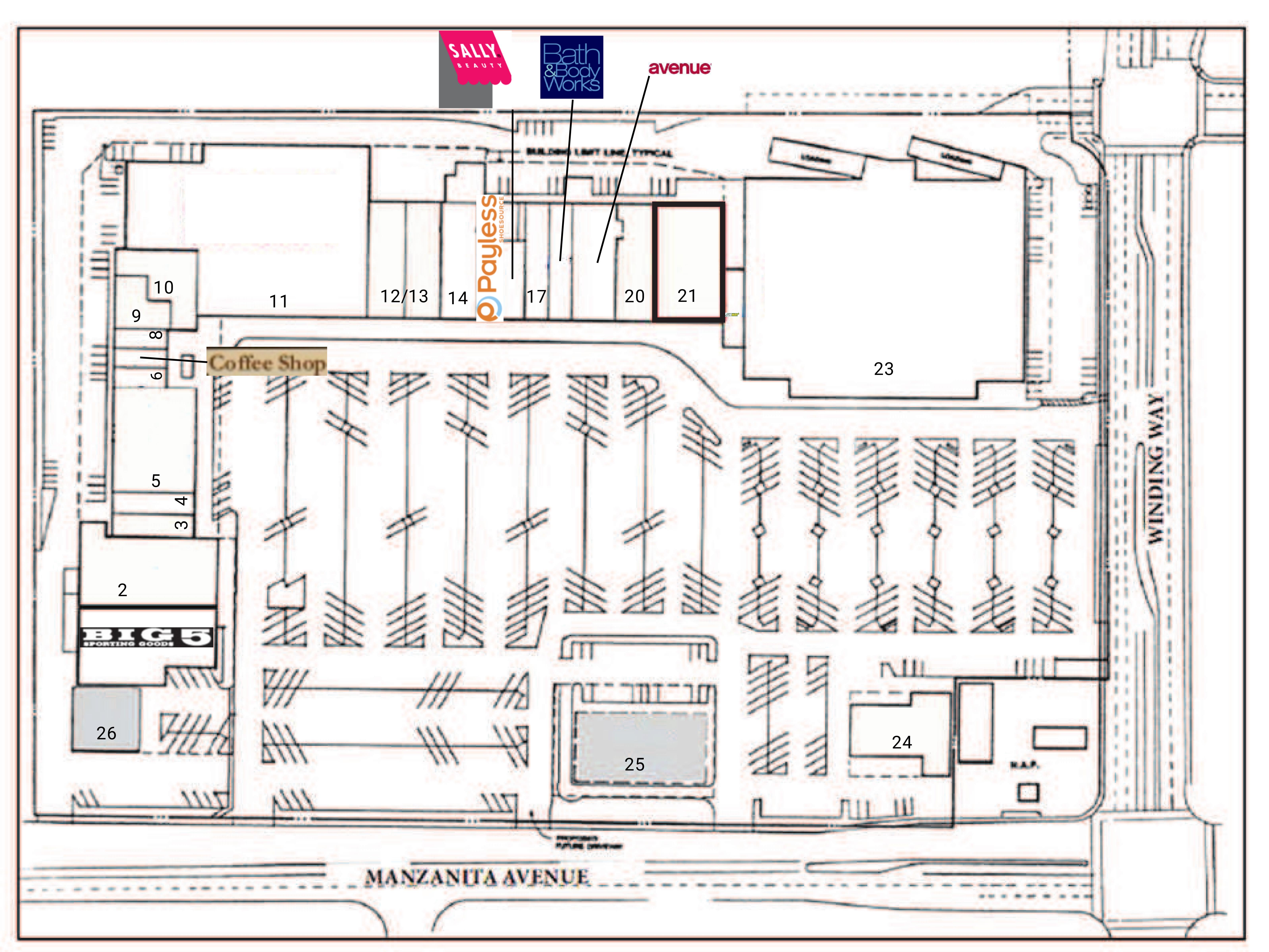 Crestview Shopping Center: site plan