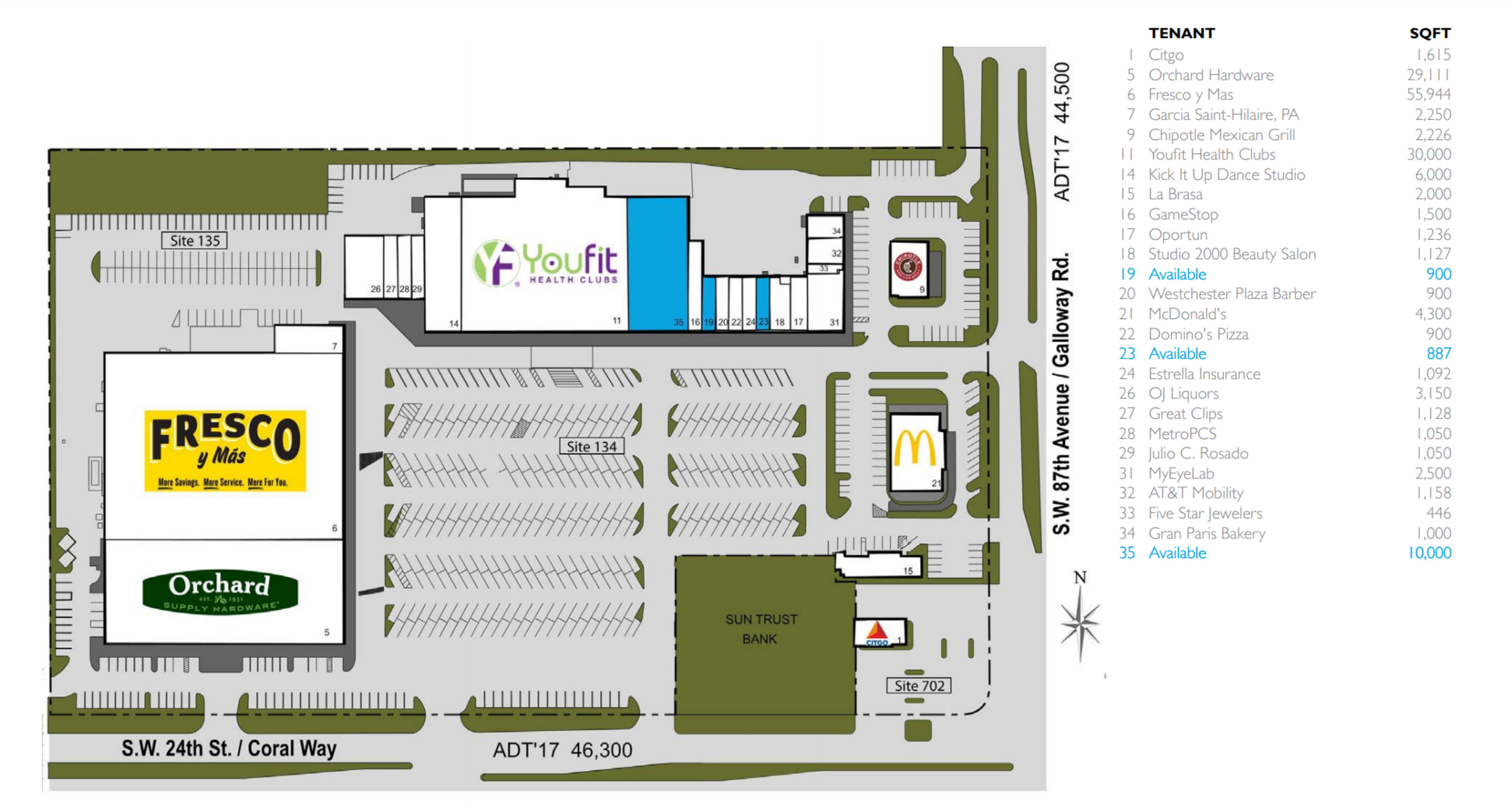 Coral Way Plaza : site plan