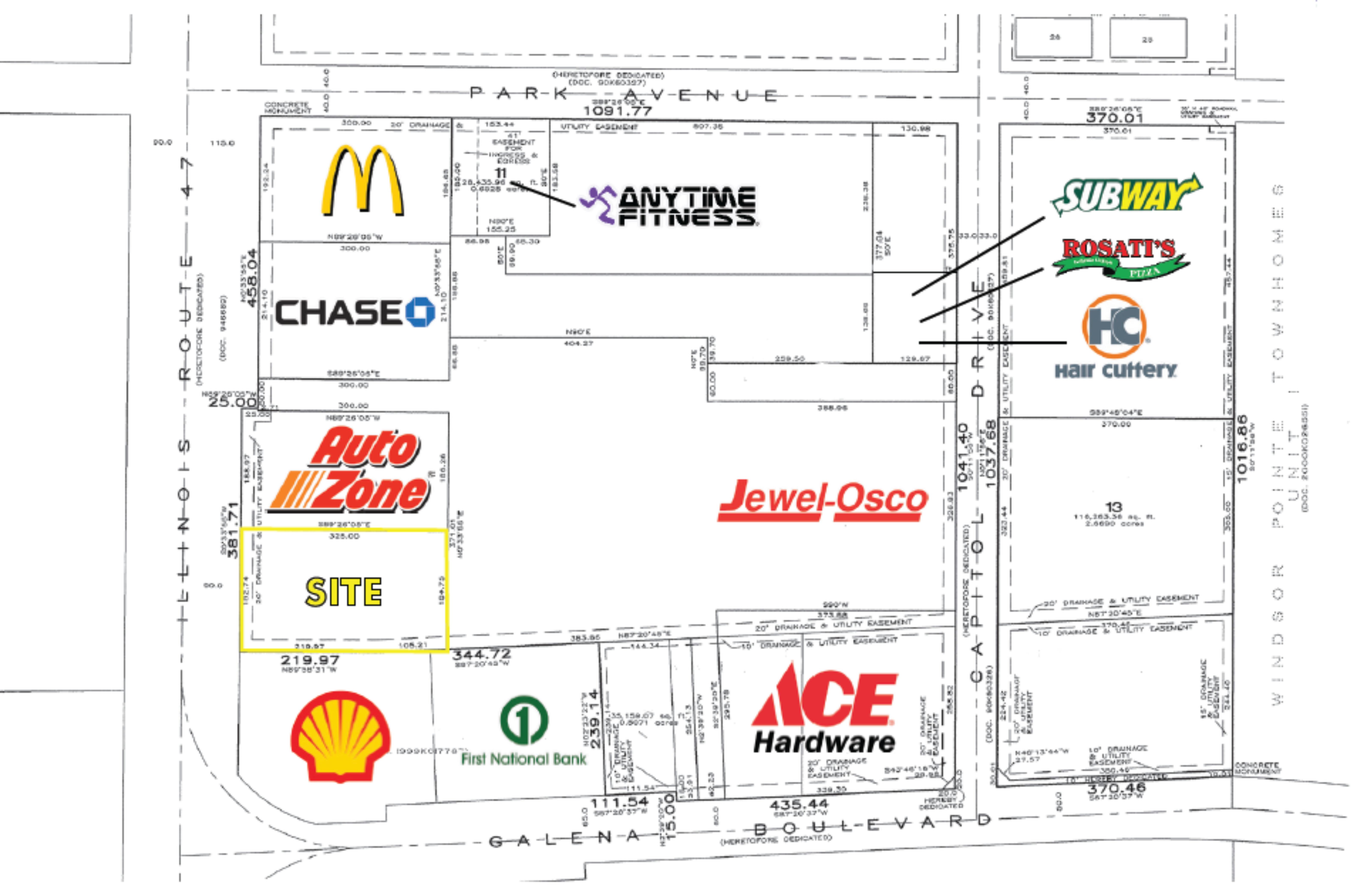NEC Route 47 & Galena Boulevard: site plan