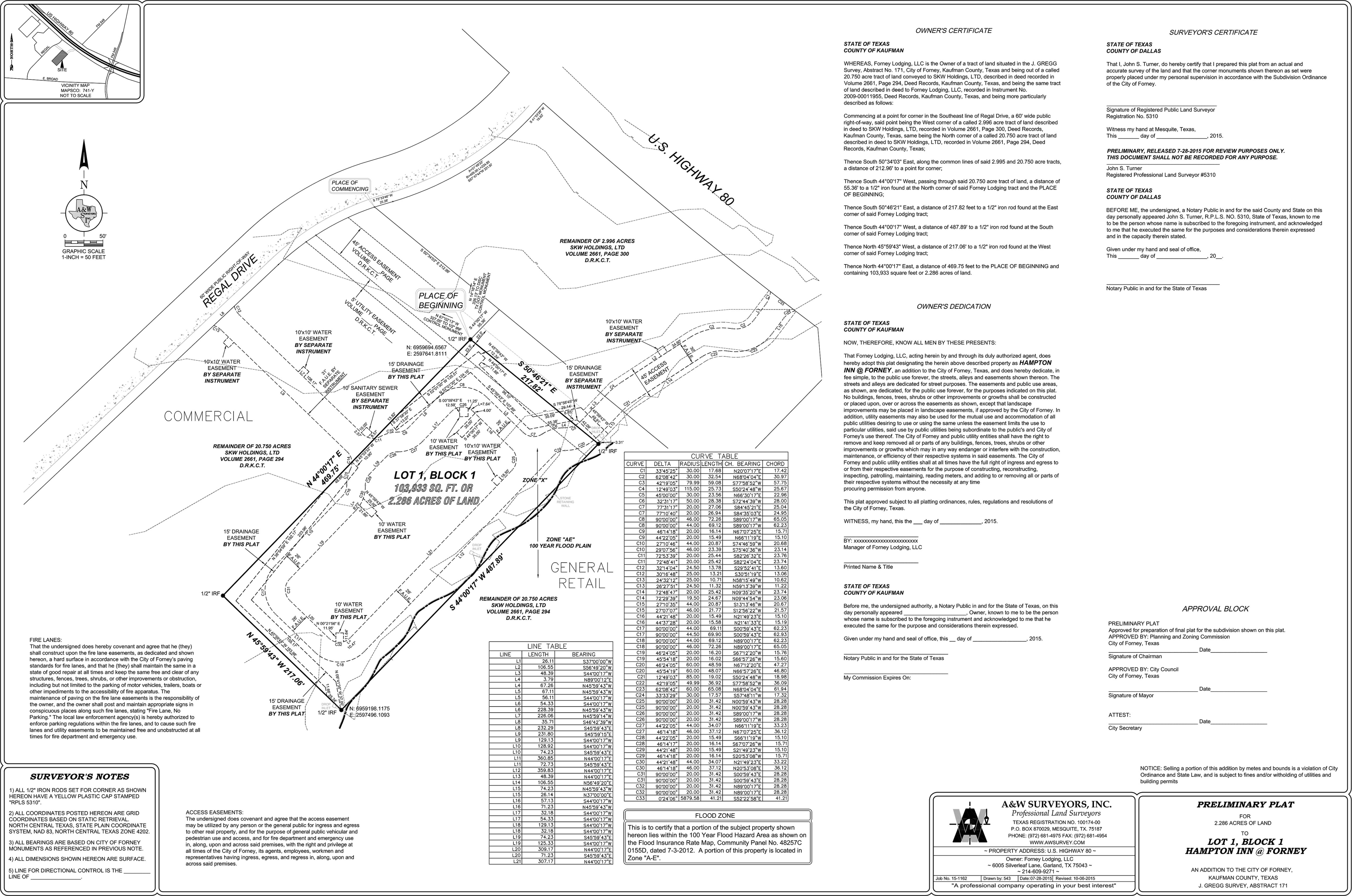 US Hwy 80 West of FM 548 at Regal - 2.39 ACRES: site plan