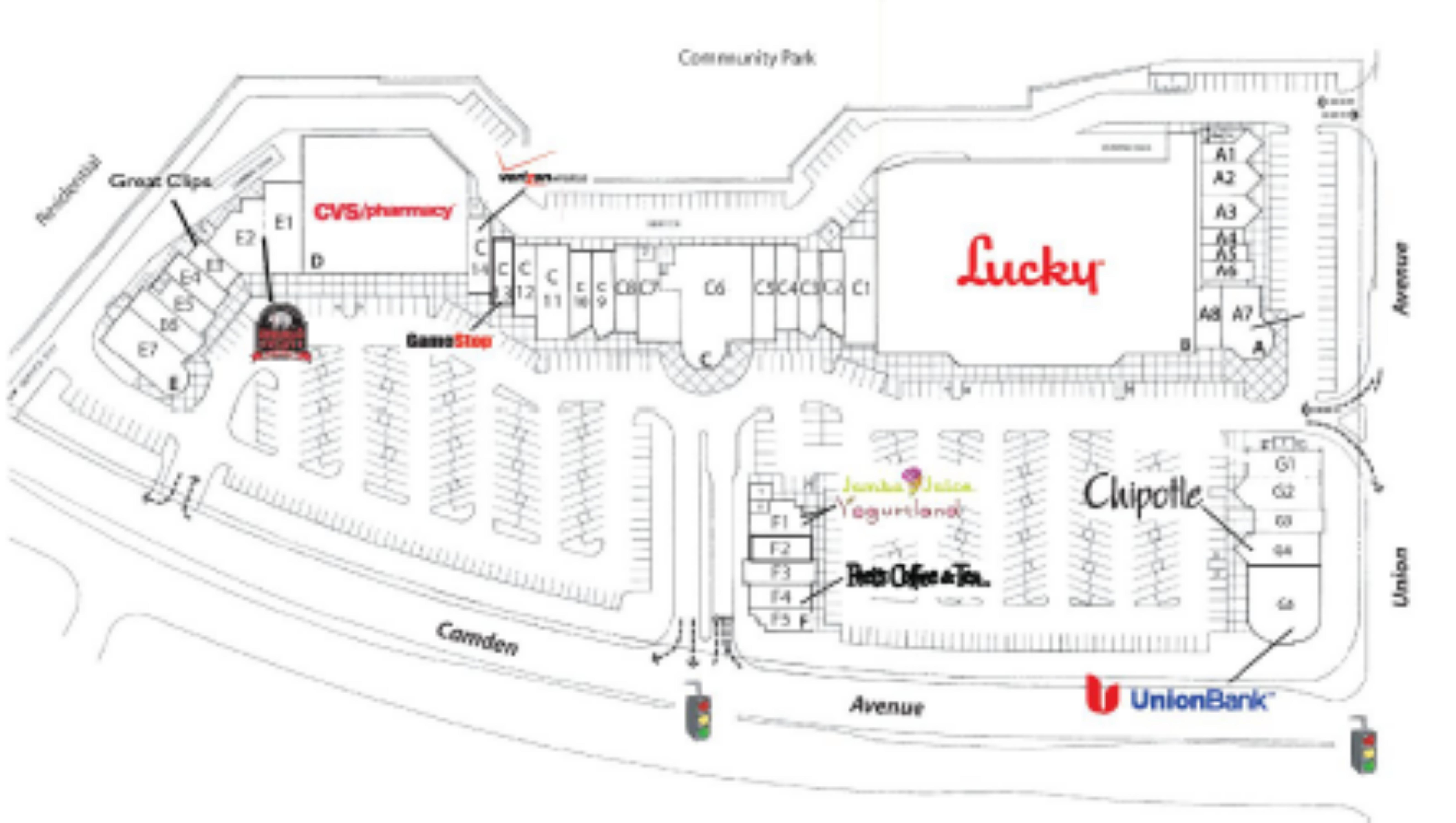 Camden Park Shopping Center: site plan