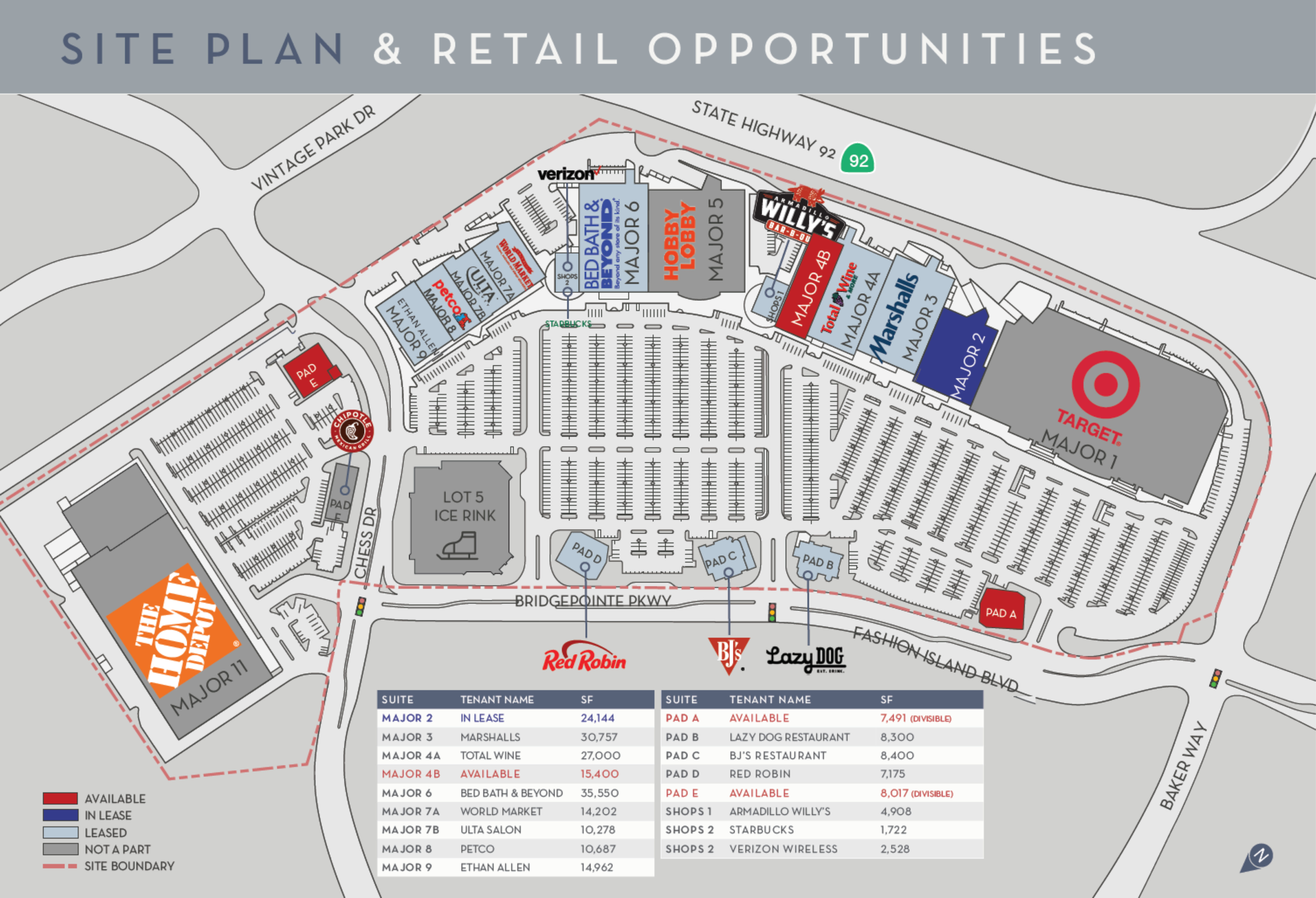 Bridgepointe Shopping Center: site plan
