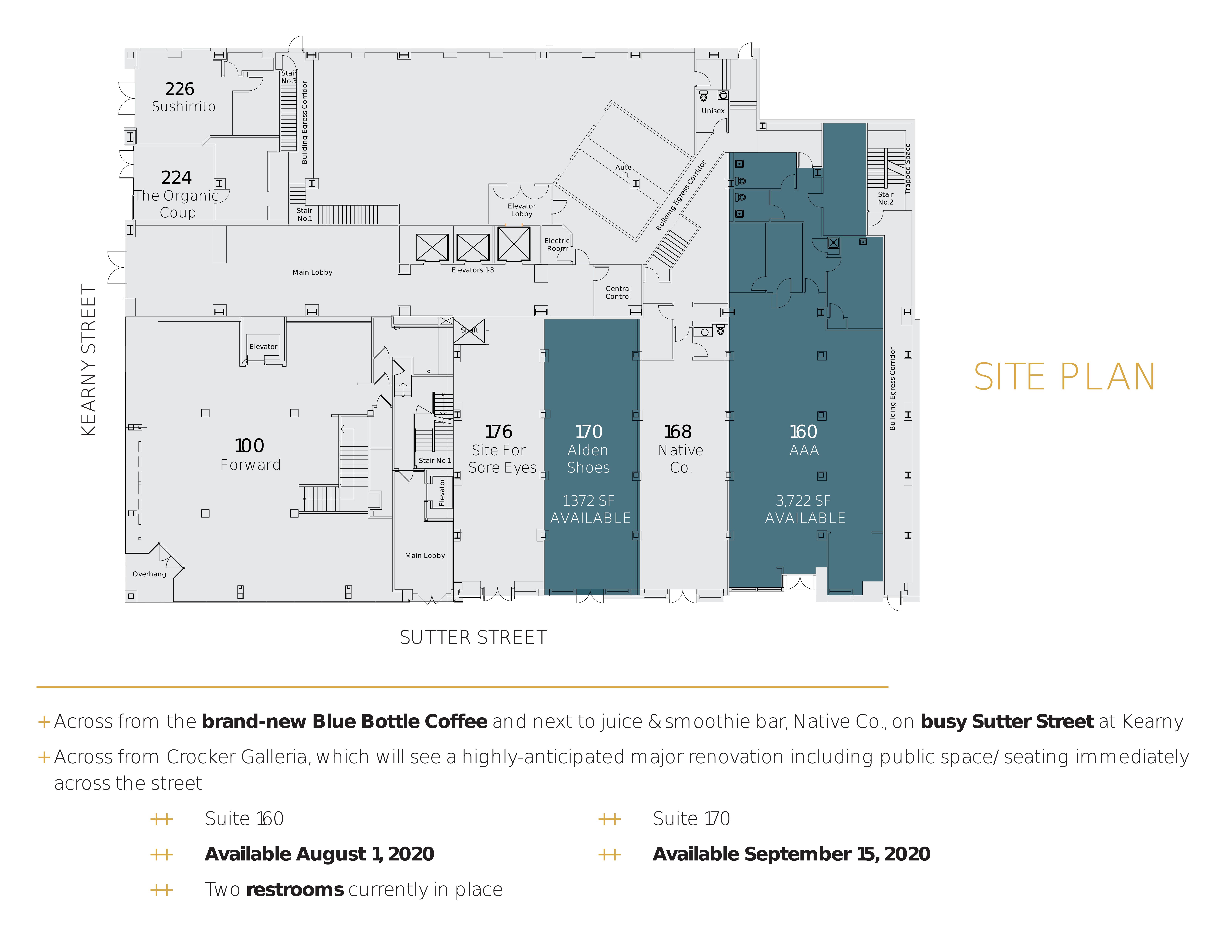 222 Kearny & 180 Sutter Street: site plan