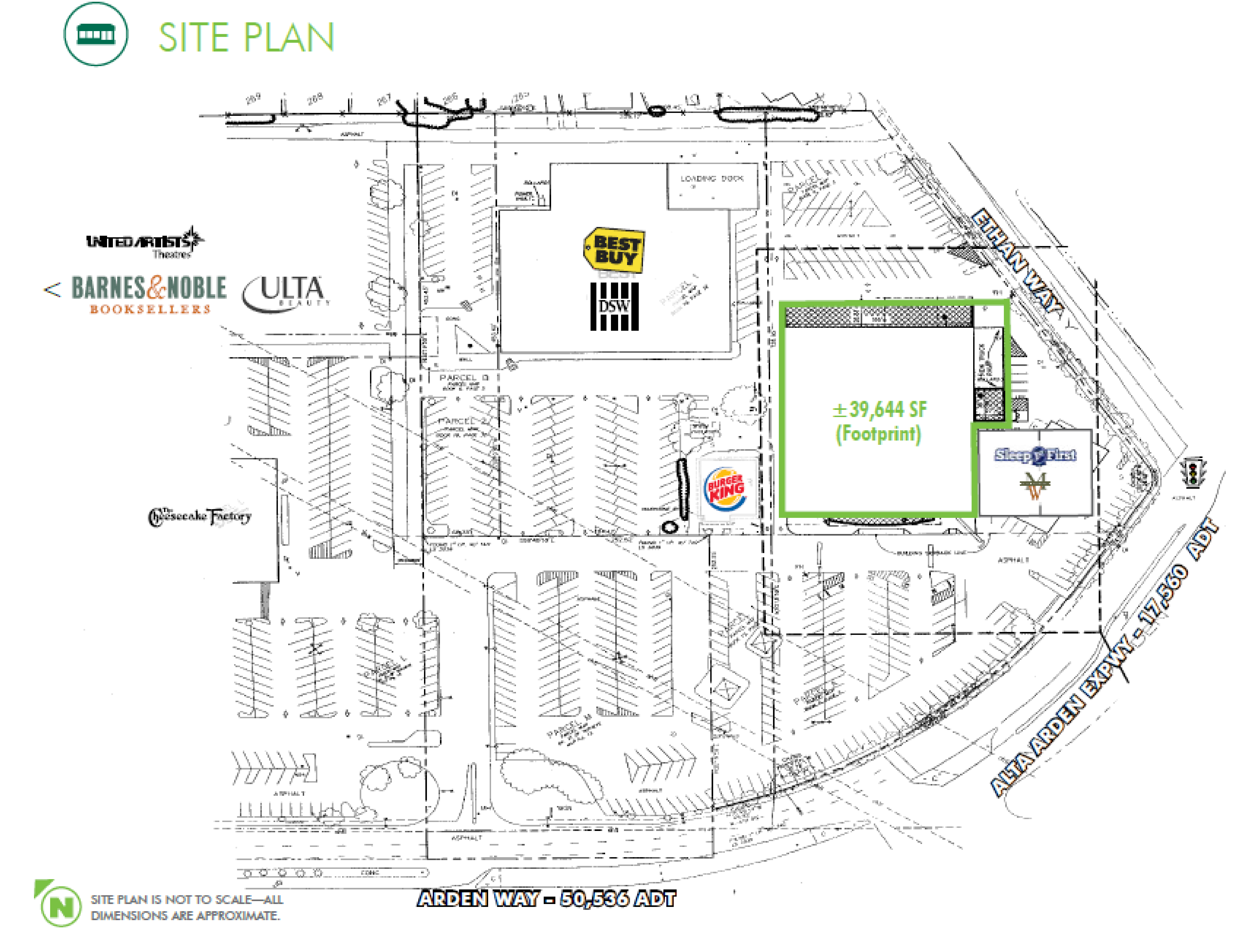Former Toys R Us - Arden Fair Mall: site plan