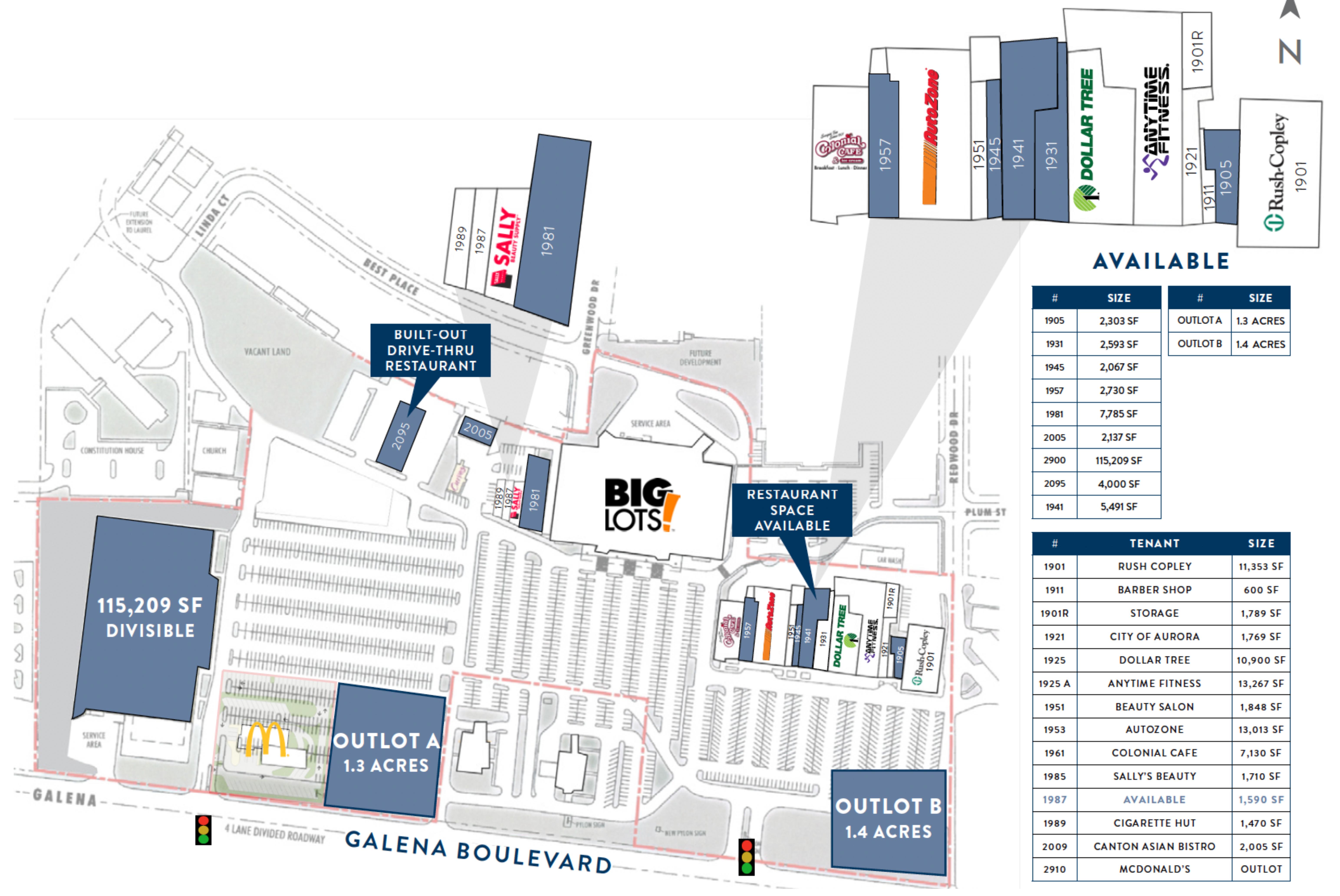 West Aurora Plaza: site plan